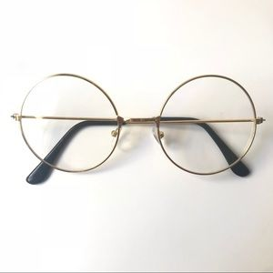 Gold Nerdy Round Circle Fashion Glasses
